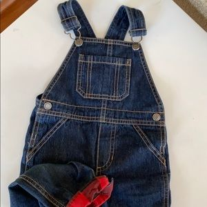 Toddler boy jean overalls with red ankle cuffs